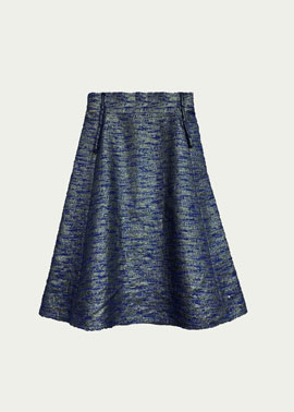 Blue Jacquard Skirt