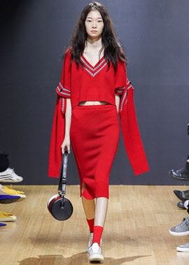 BASIC KNIT LONG SKIRT_RED [소유 착용]