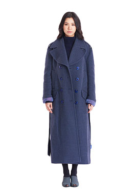 Unisex Oversize Double Breasted Coat_Swallow Check