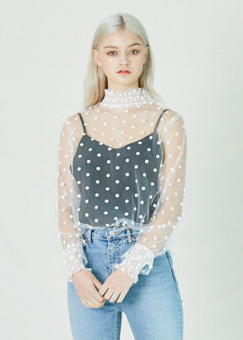 DOT SEETHROUSH BLOUSE_WH