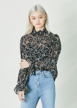 FLOWER SMOKE BLOUSE_BK