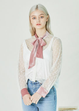 VELVET TIE SEETHROUSH BLOUSE_PK