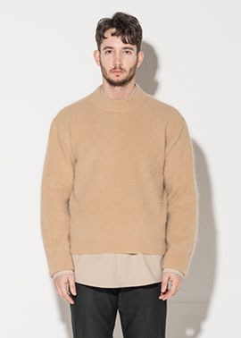 Angora cropped sweater_Sand Beige