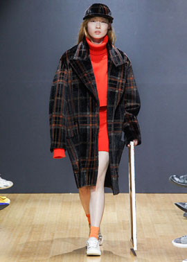 ARTIFICIAL CALFSKIN CHECKED OVERSIZED COAT_ORANGE / YELLOW
